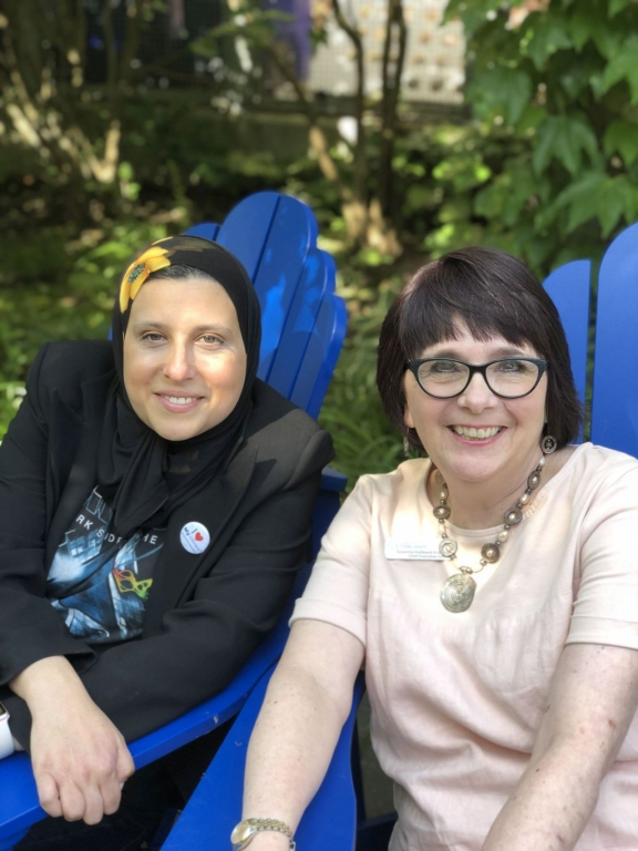 Mariam Hamou, Chair, London Public Library Board and Susanna Hubbard Krimmer, Outgoing CEO and Chief Librarian, London Public Library in the Rotary Reading Garden at Central Library