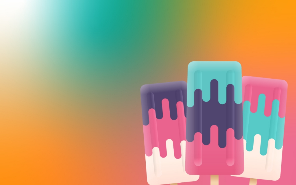 cartoon popsicles over a brightly coloured background