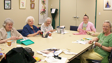 stitching group at the Cherryhill Branch