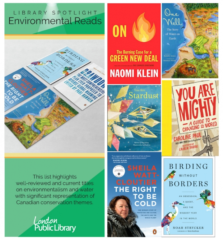 environmental reads library spotlight brochure with books on display