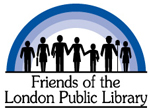Friends of the London Public Library logo silhouettes holding hands together