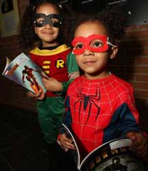 Children dressed up for Comic Costume Contest