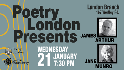 poetry london presents james arthur jane munro wednesday january 21 7:30 pm land