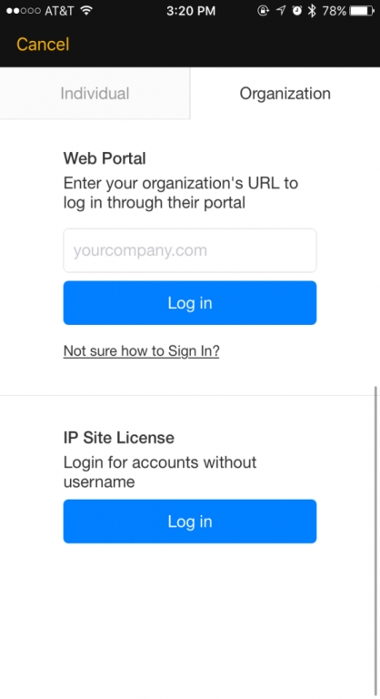 Lynda.com login pop-up