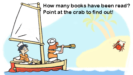 How many books were read this year?  Point at the crab to find out!