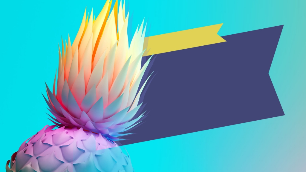 backgound image of brightly coloured pineapple