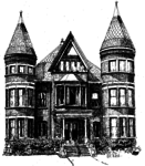 Black and white drawing of Buchan House