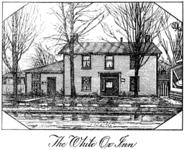 Black and white drawing of a The White Ox Inn