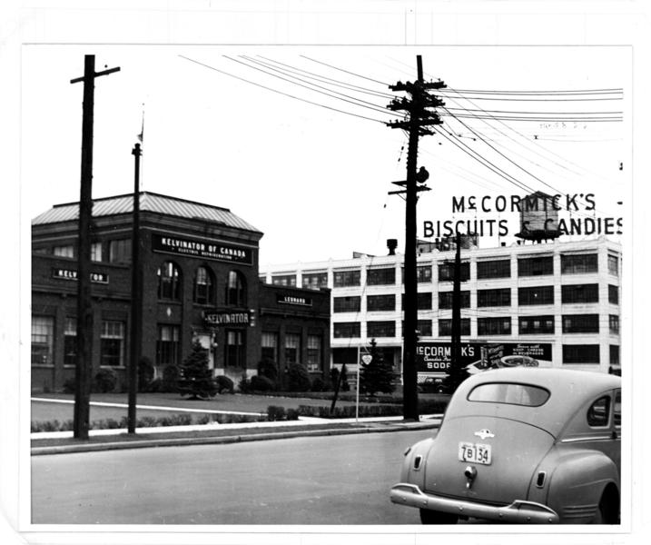 Glossy print showing Kelvinator of Canada and McCormick Manufacturing Company on Dundas Street East.