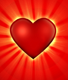 red catoon heart with light shinging behind it