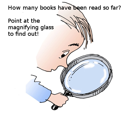 How many books were read this year?  Point at the magnifying glass to find out!